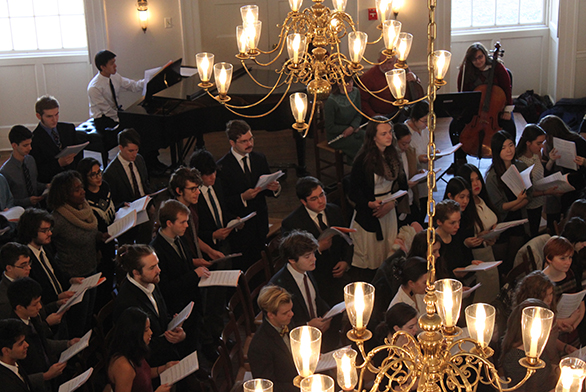 The St. John's College Freshman Chorus performs in the Great Hall in Annapolis.