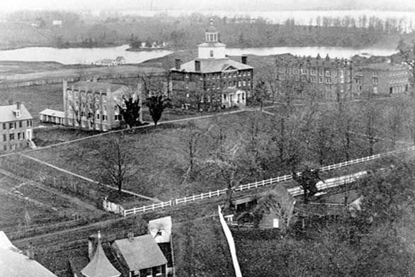 An aerial view shows the St. John's campus, circa 1868.