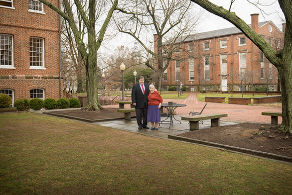 Nelson stands with longtime tutor and former dean Eva Brann.
