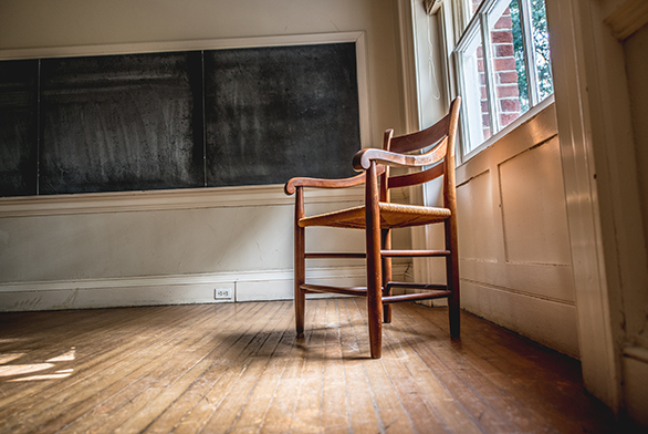 A Johnnie Chair sits in McDowell Hall in Annapolis
