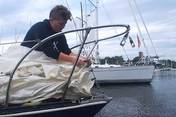 MaryEllen Markuske prepares the Thetis to sail.