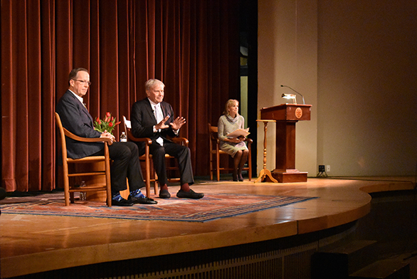 Adm. Mike Mullen, left, and Tom Brokaw discuss current events at St. John's College in Annapolis.