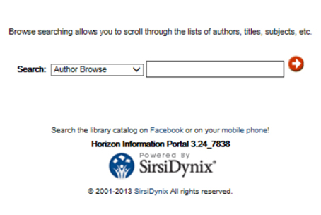 The Browse Search screen from the library catalog