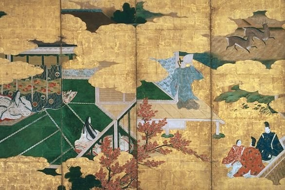 Folding screen with scenes from The Tale of Genji