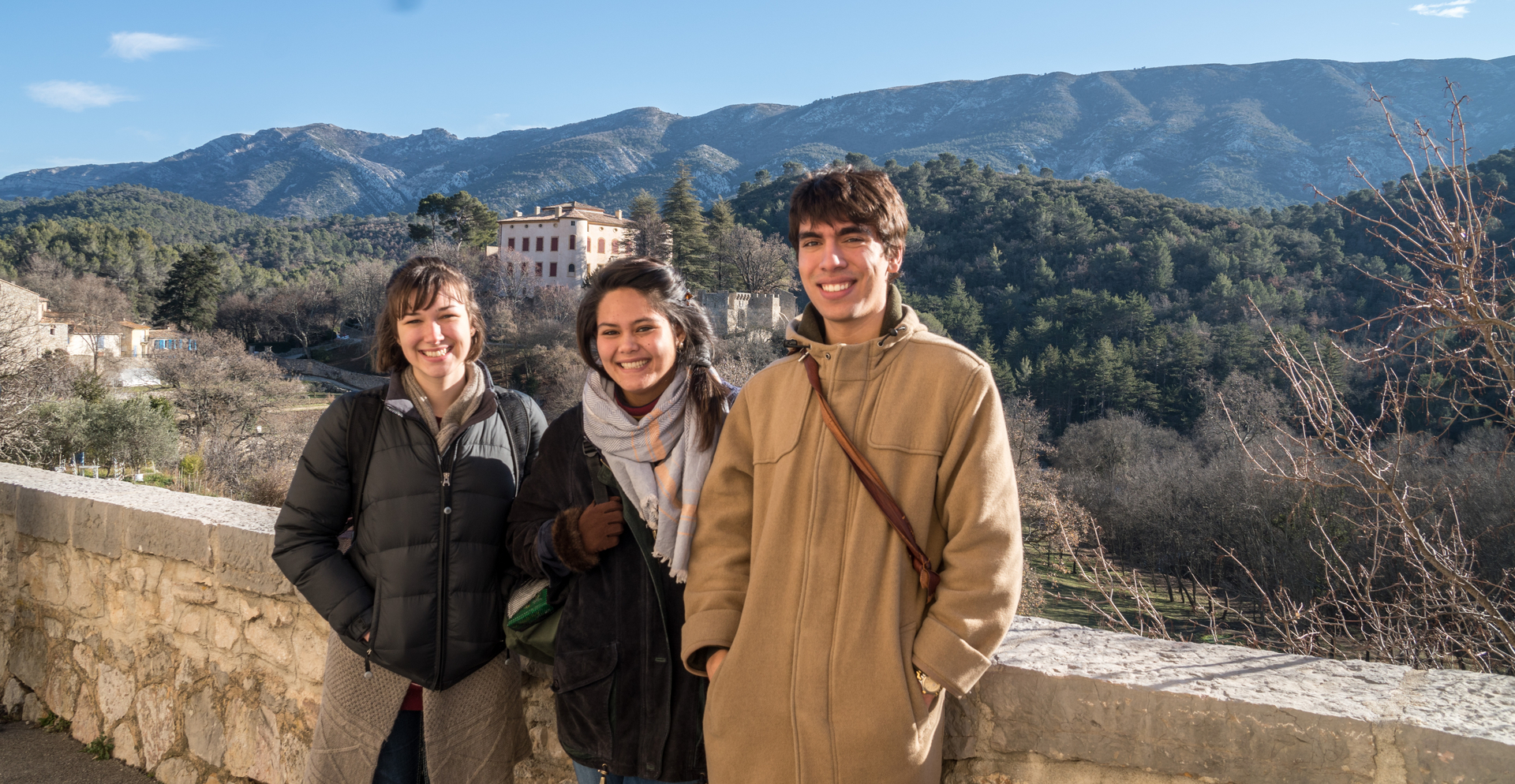 Students Clara Rhoades, Leah Mozzer, and Noah Leal on an excursion.