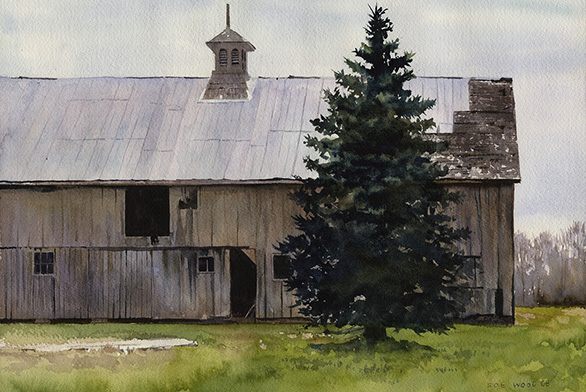 "This Rob Wood watercolor is titled ""April Morning."""