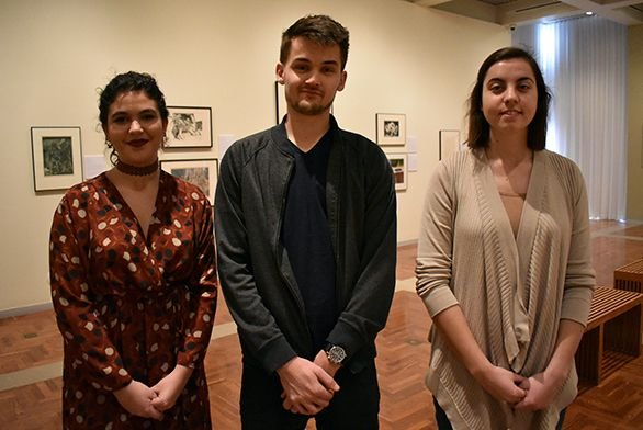 Mitchell Gallery guards Sila Karabiber, Ethan Pellegrin and Kelsey Cumiskey