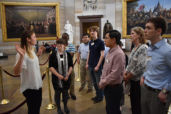 St. John's College students get a tour of the Capitol Rotunda.