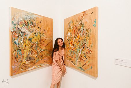 Mendizabal with paintings SITE Santa Fe